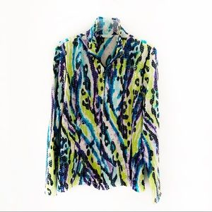 Laura Ashley Shiny Fashion Artsy Zip Up Jacket XL